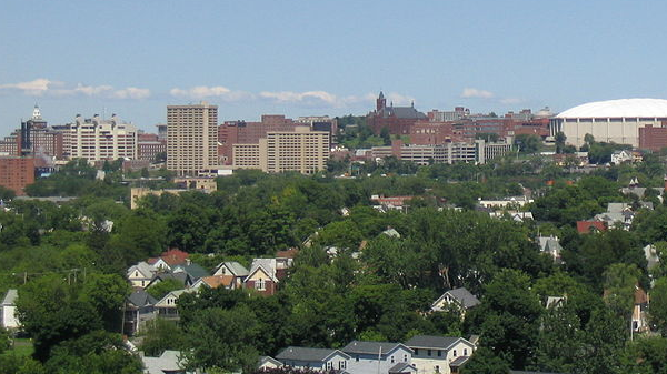 image of the city of Syracuse, NY downtown skyline