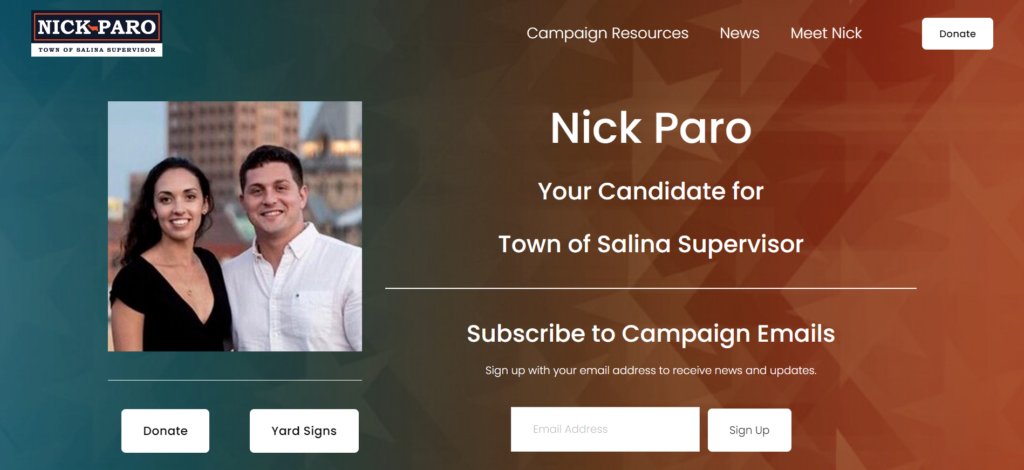 political campaign website design for nick paro in salina, ny