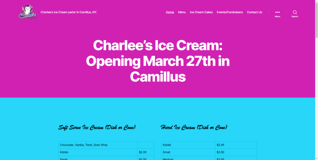 small business website design for ice cream shop in camillus, ny