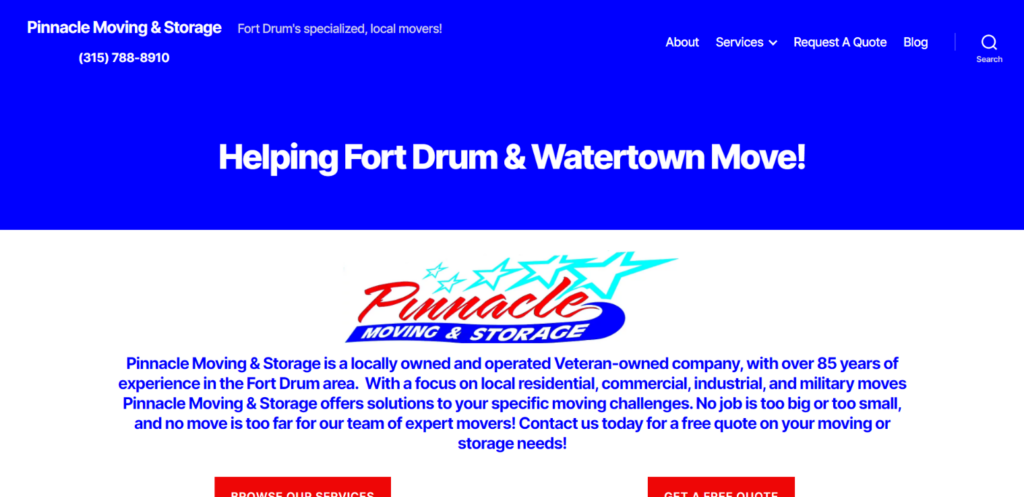 small business website design for moving & storage service in watertown, ny