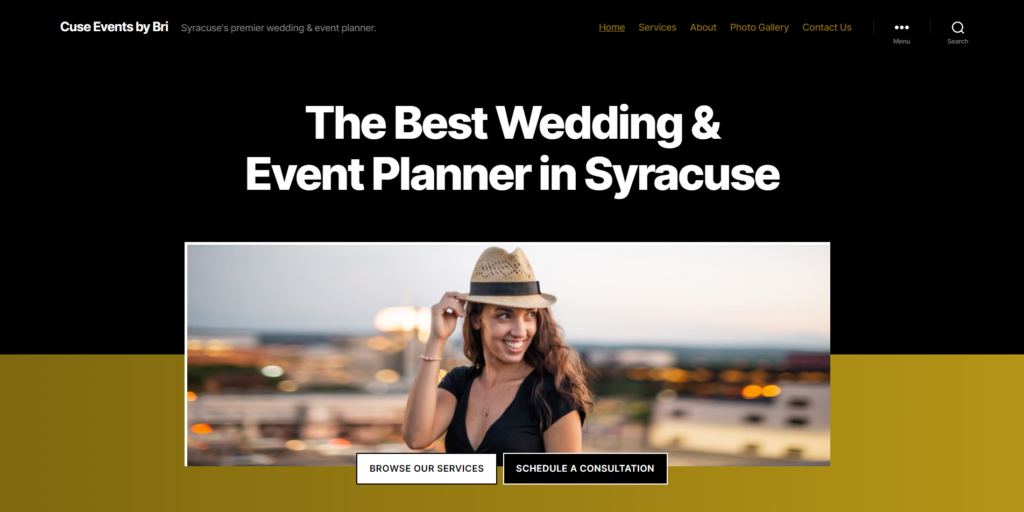 small business website design for event planner in liverpool, ny